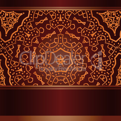 Burgund invitation with abstract african round lace ornament