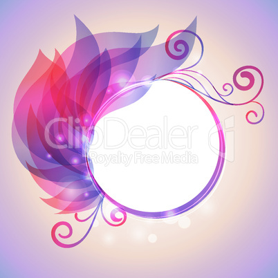 Colorful wing of leaves with swirl and bokhen effects, frame for text