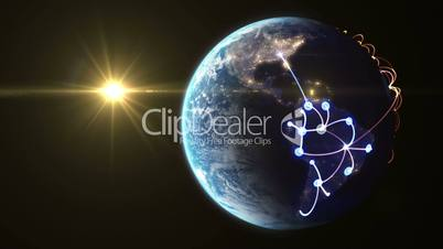 Global network, rotating Earth with night lights. (version with the Sun)