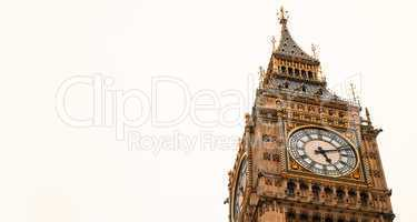 The Big Ben Tower, London. Isolated on white background