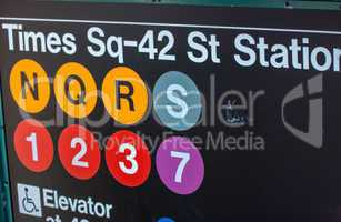Times Square - 42 street station entrance sign in New York