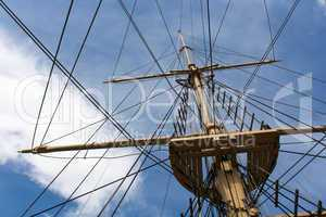 Mast of a big old sailing ship