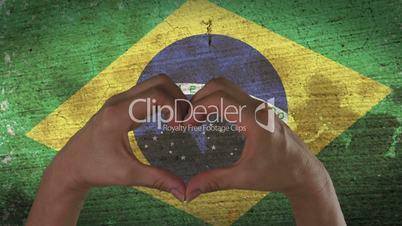 Hands Heart Symbol Brazilian Flag