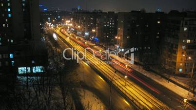 Timelapse Of Night Traffic In Kiev