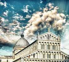 Pisa. Square of Miracles with Basilica at dusk