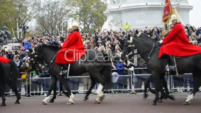Members of the Household Cavalry on duty at Horse Guards during Changing of the Guard ceremony in Londo The Cavalry are the lifeguards of Queen Elizabeth II.
