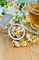 Herbal chamomile tea with strainer on board