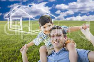 Father and Son Over Grass Field, Sky, Ghosted House Icon