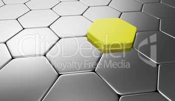 Sechseck Konzept Silber Gelb