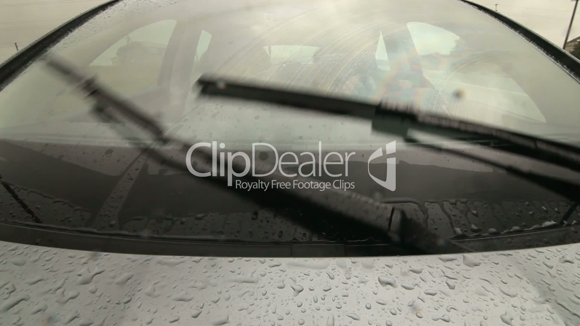 Man Driving Car On Wet Road In Heavy Rain Pov Royalty-Free Video And Stock Footage-7929