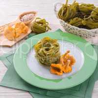 ,,tagliatelle con Spinaci,, with chanterelles