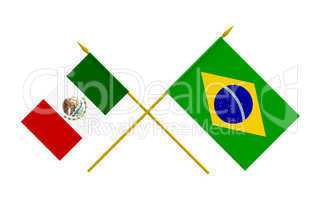 Flags, Brazil and Mexico