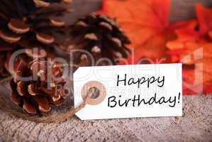 Fall Label with Happy Birthday