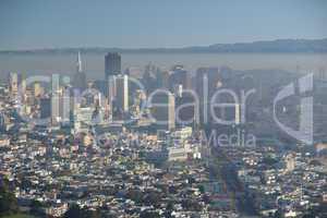 Aussicht, san francisco, Twin Peaks, Berge, Bergblick, Skyline, Dunst, Übersicht, Blick, Panorama, Häuser, Häuserschlucht, Straßen, Wolkenkratzer, Gebäude, Bergblick, Kalifornien, Stadt, Aussichtspunkt,