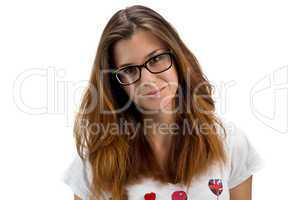 Portrait of teenager girl with glasses