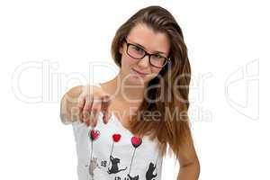 Teenager girl with glasses pointing her finger