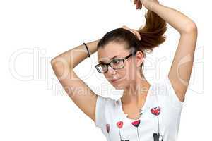 Teenager girl with glasses and ponytail
