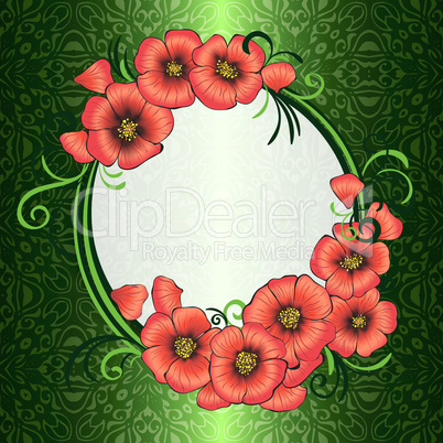 frame with red poppies and green damask patterned background