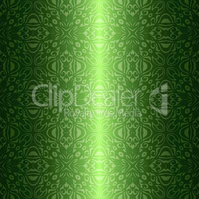 Damask vintage floral green seamless pattern background