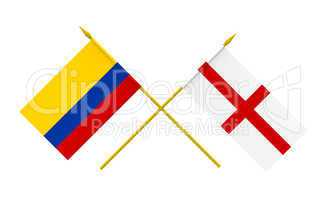 Flags, Colombia and England
