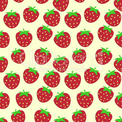 Seamless pattern with ripe strawberries