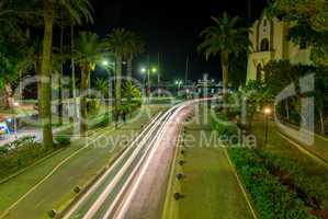 Beautiful city streets of Kos Island at night, Greece
