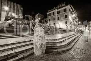 Tourists in famous Spanish Steps to Trinita dei Monti, Rome - It