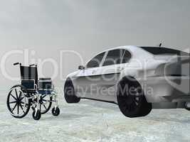 Adapted car for handicapped person - 3D render