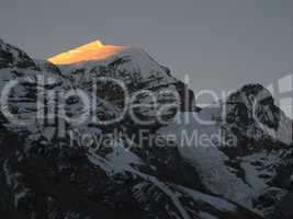 Purbung Himal at sunset