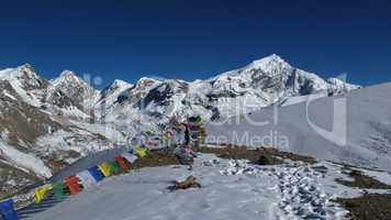 Prayer flags and Chulu West
