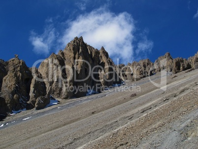 Limestone formations on the way to Tilicho Lake