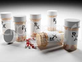 Prescription Medication Bottles with Pills