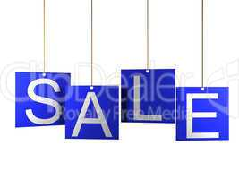 Sale tag on blue hanging labels