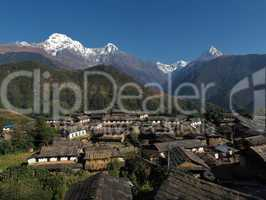 Famous village Ghandruk and snowcapped Annapurna South