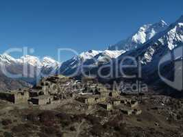 Ruined village and Annapurna Two
