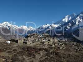 Beautiful old village on a hilltop near Manang