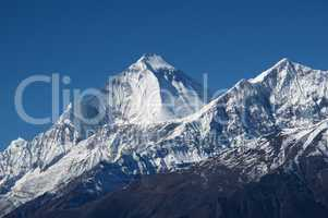 Snow capped peaks of Dhaulagiri and Tukuche Peak