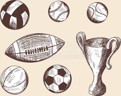 Set of different sketch balls