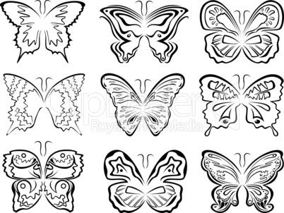 Set of six black butterflies contours over white