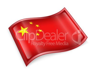 China Flag Icon, isolated on white background.