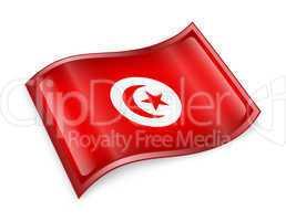 Tunisia Flag icon, isolated on white background.