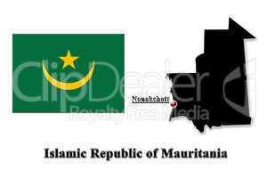 Map of Islamic Republic of Mauritania in English