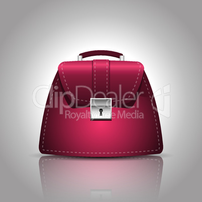 illustration of a burgundy women female handbag