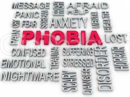 3d Phobia symbol conceptual design isolated on white. Anxiety di