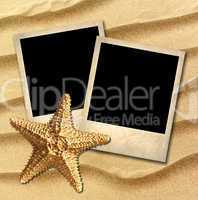 Photo of an old style decorated starfish on a background of sea