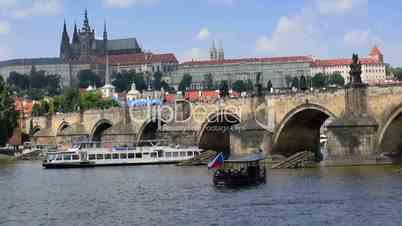 boat traffic charles bridge prague close 11373