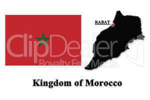 Map of Morocco in colors of its flag in English isolated