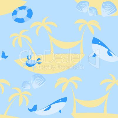 Seamless Beach Vector Pattern