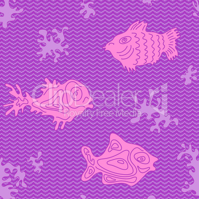 Seamless Marine Vector Pattern with fish