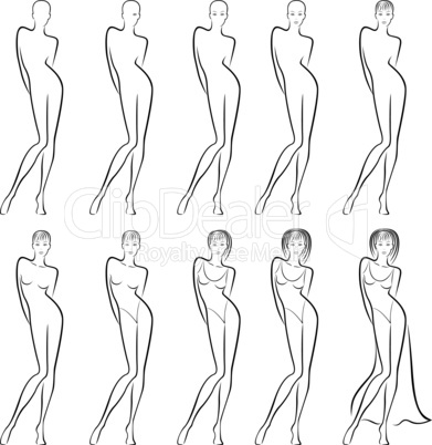 Sequence of creation a beautiful female contour
